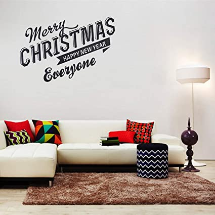 christmas wall decals stickers window clingsmerry christmas happy new year quotes lettering vinyl words