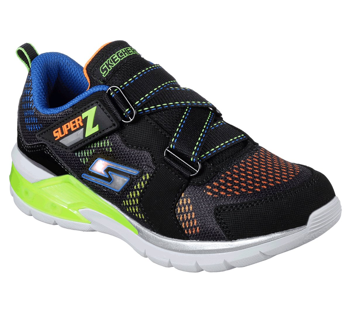 Skechers 90552N Kids' S Light: Erupters II Sneaker, Black/Lime - 9