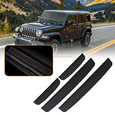 2- Door Door Sill Guards Fit for 2018-2019 Jeep Wrangler JL Accessories Entry Plate Cover with Since 1941 Logo Black