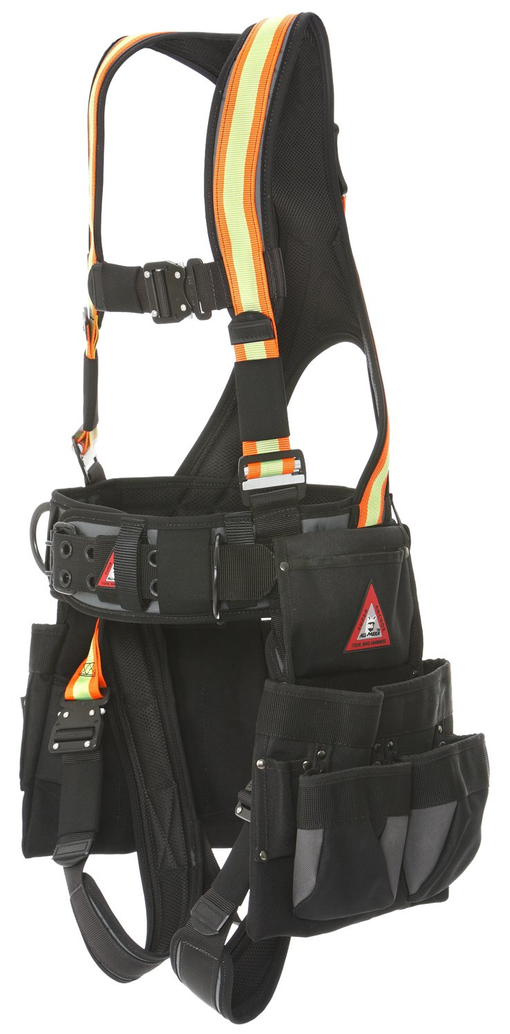 Super Anchor Safety 6151-HL Deluxe Full Body Harness plus All-Pakka Tool Bag Combo, Large, Hi-Vis by Super Anchor Safety B01BO3NEQI