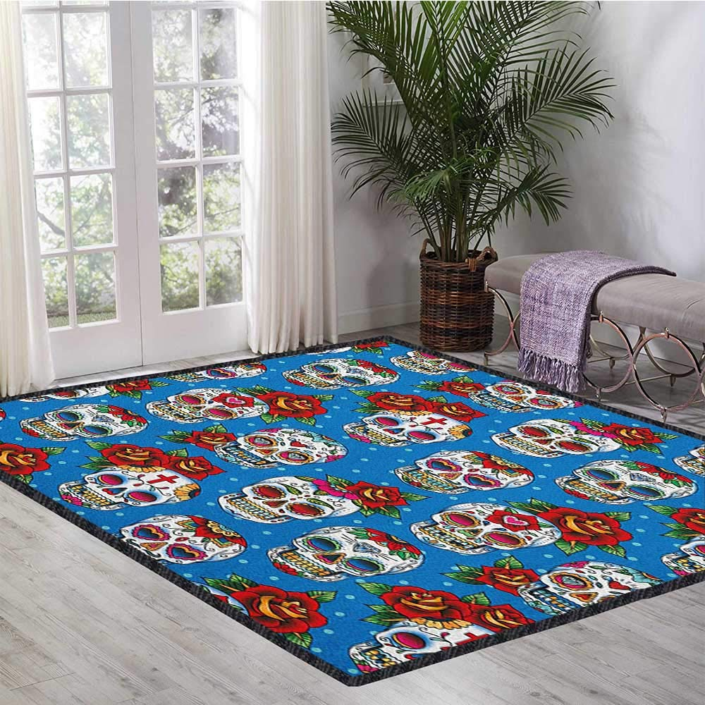 Sugar Skull Decor Area Rug,Retro Style Mexican Cultural Pattern on Polka Dots Rose Bouquets Skeletons Suitable for Bedroom Home Decor Multicolor 55''x63'' by Philip C. Williams