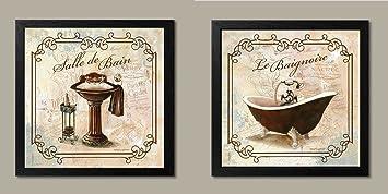 Gango Home Decor Classic Prints for Decorating Bathroom; Salle De Bain & Le Baignoire (