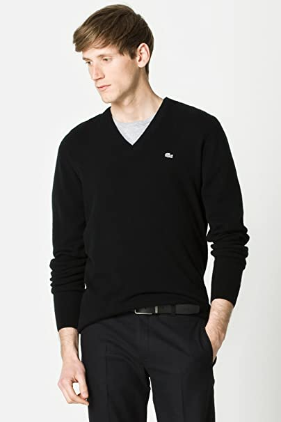 9d52750bbead LACOSTE Men Black Label Cashmere V-Neck Sweater Pullover (XXL EUR8 ...