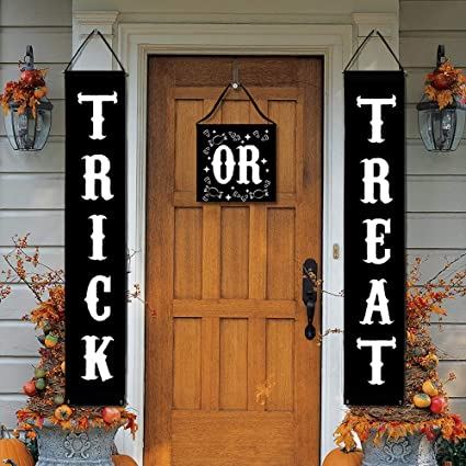 joyet trick or treat halloween party supplies banner for home indoor outdoor halloween decorations trick or