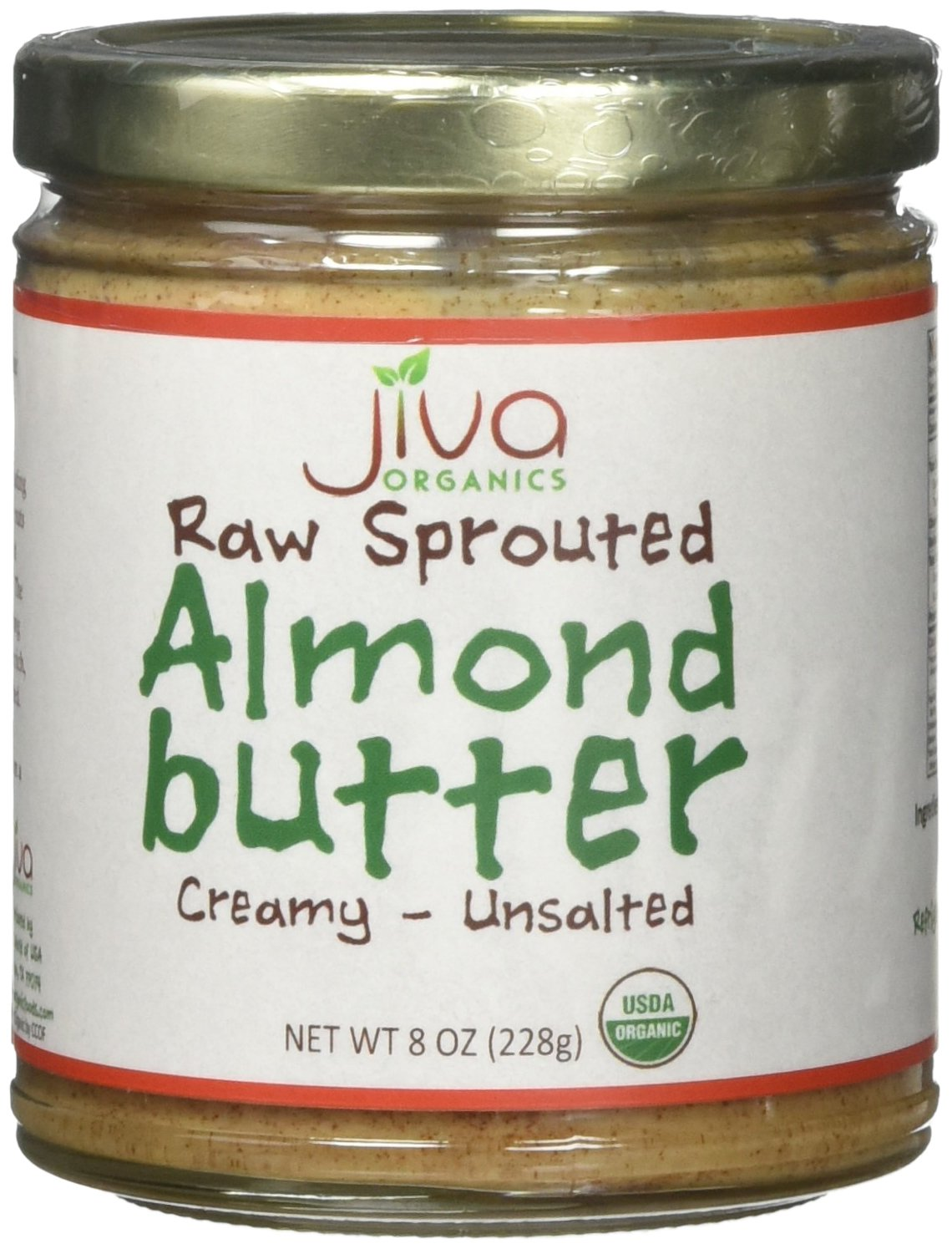 Jiva Organics RAW SPROUTED Organic Almond Butter 8-Ounce Jar