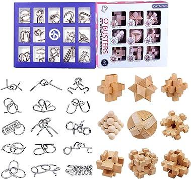 BOROK Rompecabezas Metal, 24Pack 3D Puzzles Adultos Juegos de Ingenio (9xMadera +15xMetal) Juegos de Mesa Juego IQ Juguete Educativos Habilidad Juego Logica Calendario de Adviento Niños: Amazon.es: Juguetes y juegos