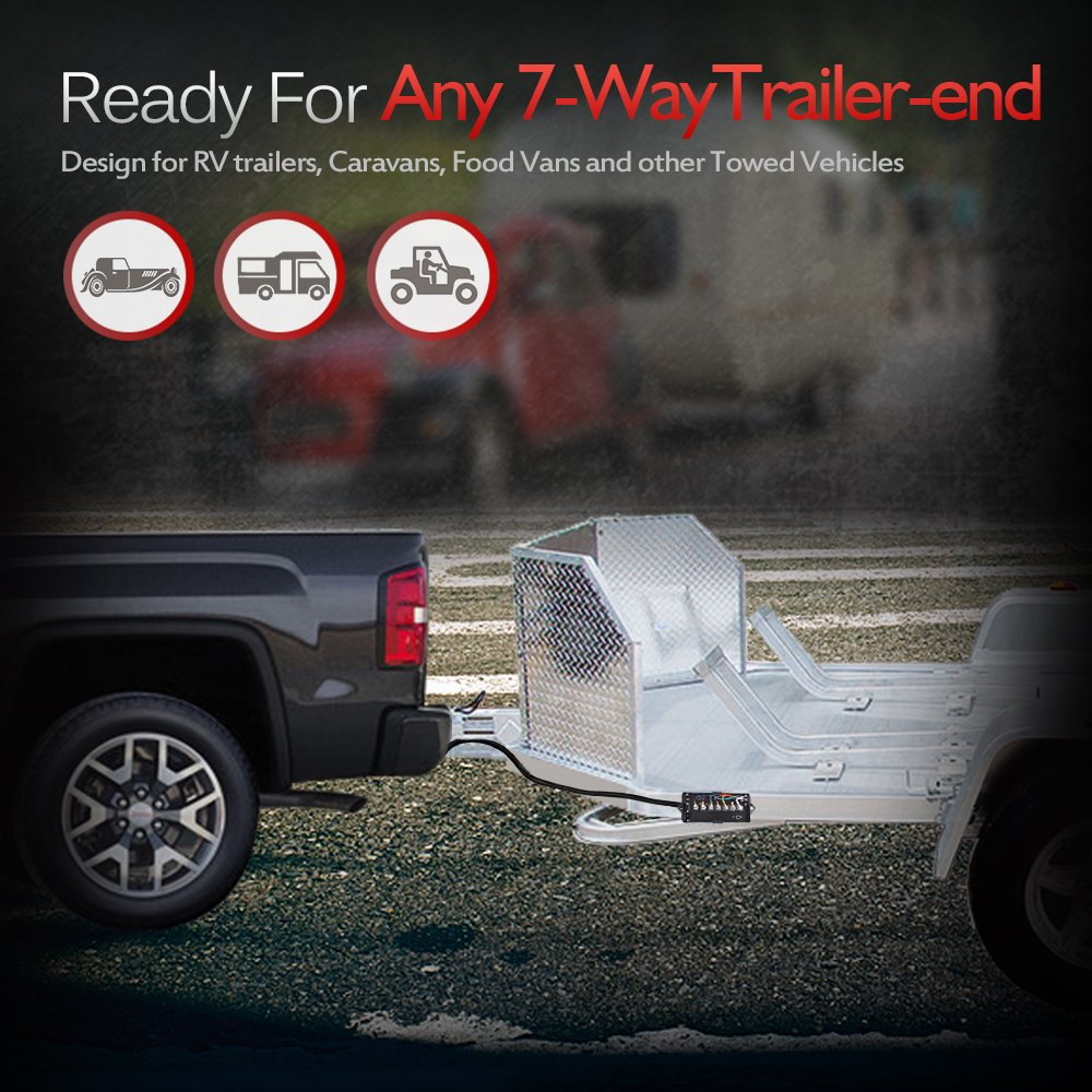 Weatherproof MICTUNING Heavy Duty 7 Way Plug Inline Trailer Cord with Double Prongs Connector 8 Feet