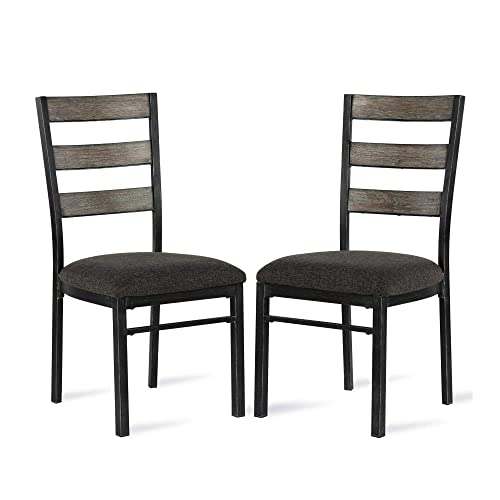 Dorel Living Sloan Metal Base Set of 2, Rustic Gray Dining Chair Set,