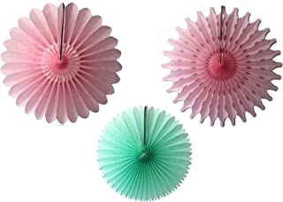 product image for Devra Party 3-Piece Tissue Paper Fans, Mint Pink, 13-18 Inch