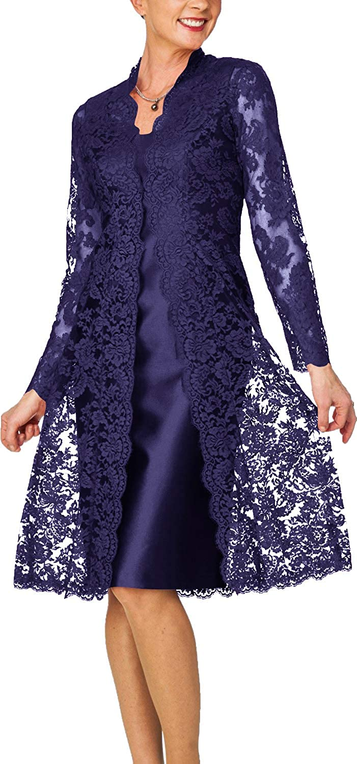 Navy bluee H.S.D Women's Sheath Short Satin Mother of The Bride Dress with Lace Jacket