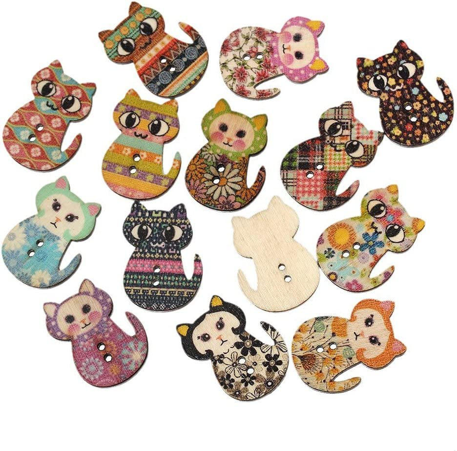 random colors Wooden Christmas tree 2 hole Buttons Pack of 8