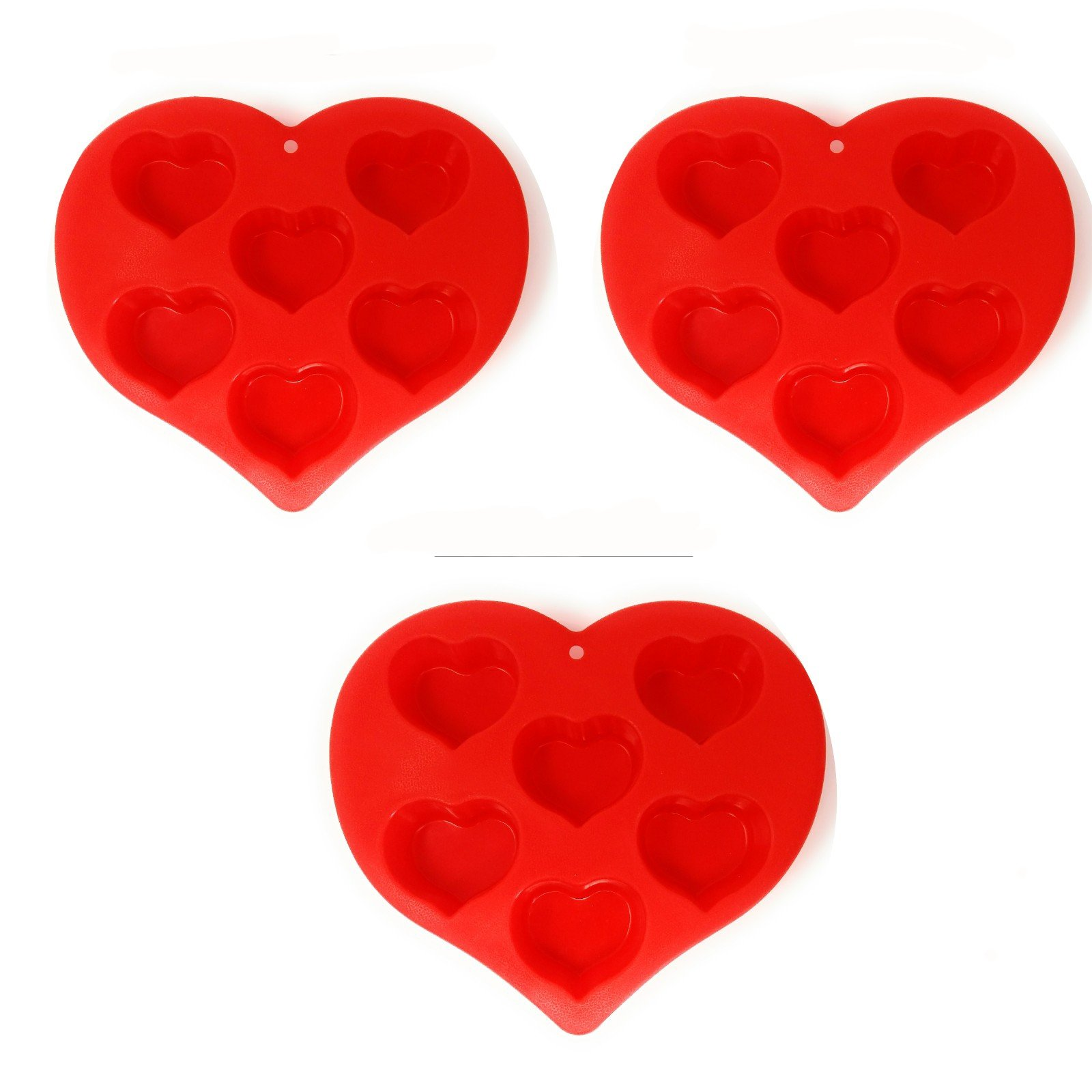 (Pack of 3) Silicone Heart Reusable Cookies and Muffin Mold, 6-Cavity for Heart Shaped Chocolate, Cakes, Candy and More! Non Stick BPA Flexible Hearts.Baking Wax Molds Silicone Ice. Bake 18 at a time.