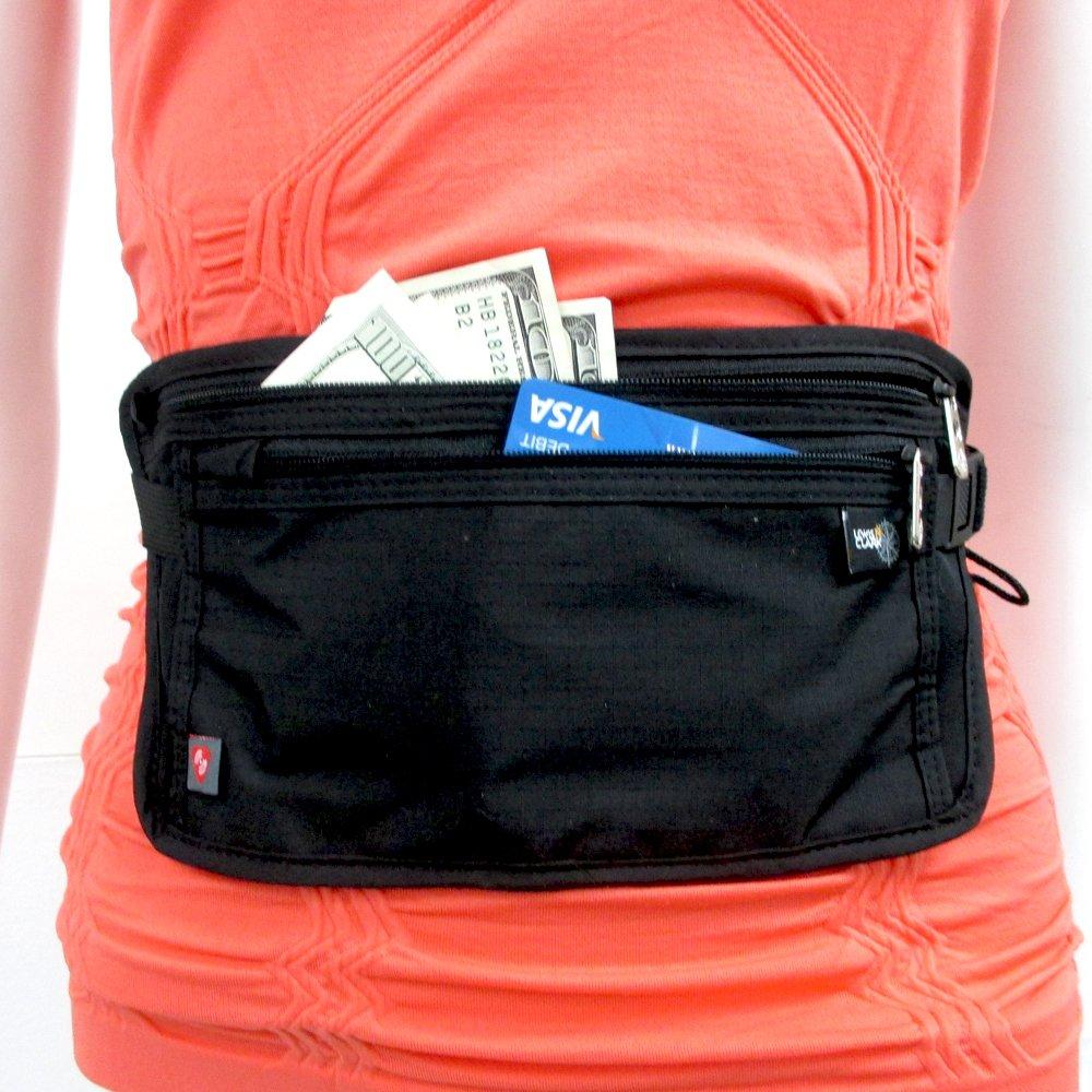 Lewis N Clark RFID Blocking Waist Stash Money Belt Passport Id Holder Travel