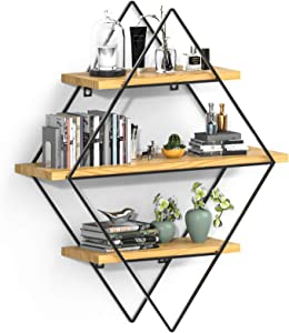 INMAN Floating Shelves for Wall, Rustic Wood Wall Shelves, Farmhouse Decorative Wood Shelves for Bathroom, Bedroom, Kitchen Decor and Storage, Metal Frame, Diamond Shape
