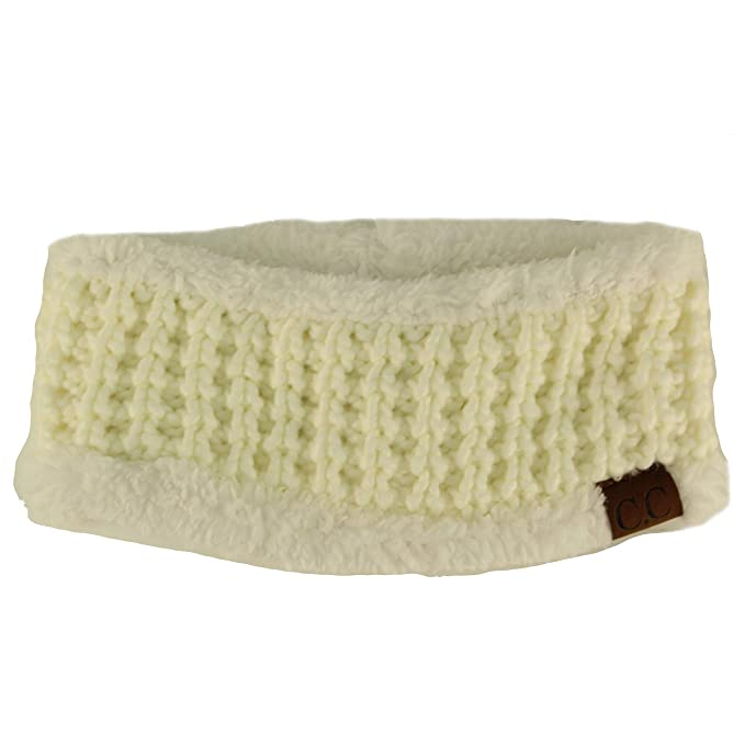 2c5e9126bc2 CC Beanie Winter Sherpa Polar Fleece Lined Thick Knit Headband Headwrap Hat  Cap Ivory
