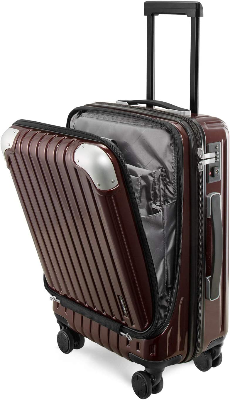 LEVEL8 Suitcase Hardside 20Inch Carryon With Laptop Luggage (20in,Red)