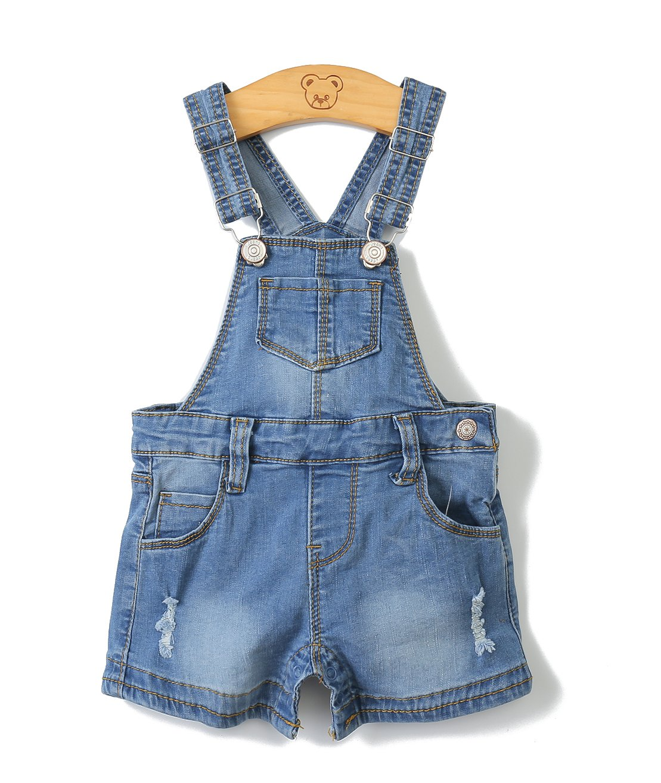 Baby Girls/Boys Big Bibs Light Blue Summer Jeans Shortalls,Light Blue,2-3 Years