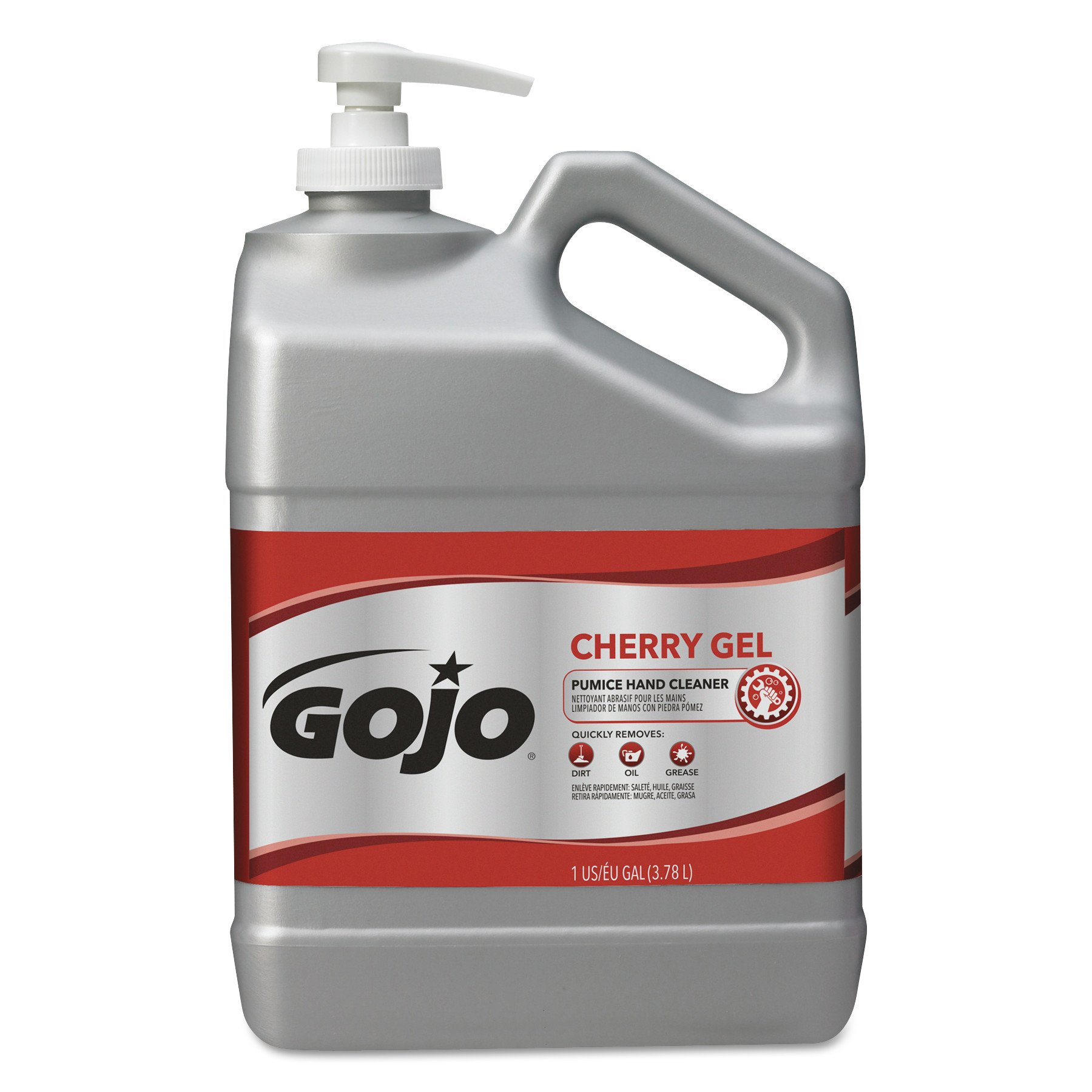 GOJO Cherry Gel Pumice Hand Cleaner, Cherry Fragrance, 1 Gallon Hand Cleaner with Pumice Scrubbers Pump Bottles – 2358-02 by Gojo (Image #1)