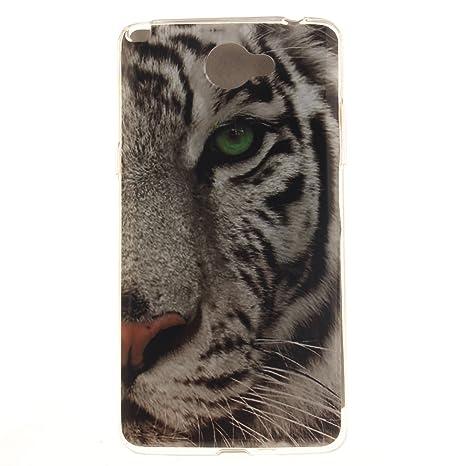 Guran® Silicona Funda Carcasa para LG Bello 2 Smartphone Case Bumper Shock TPU Cover-Tigre