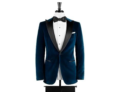 Zainabexports Men Blue Velvet Blazer Grooms Wedding Tuxed Jacket