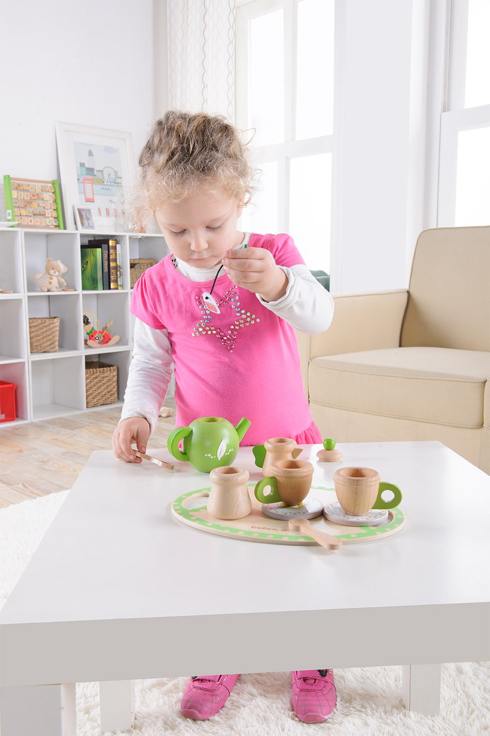 Amazon.com: EverEarth Childrens Wooden Tea Set EE33717: Toys & Games