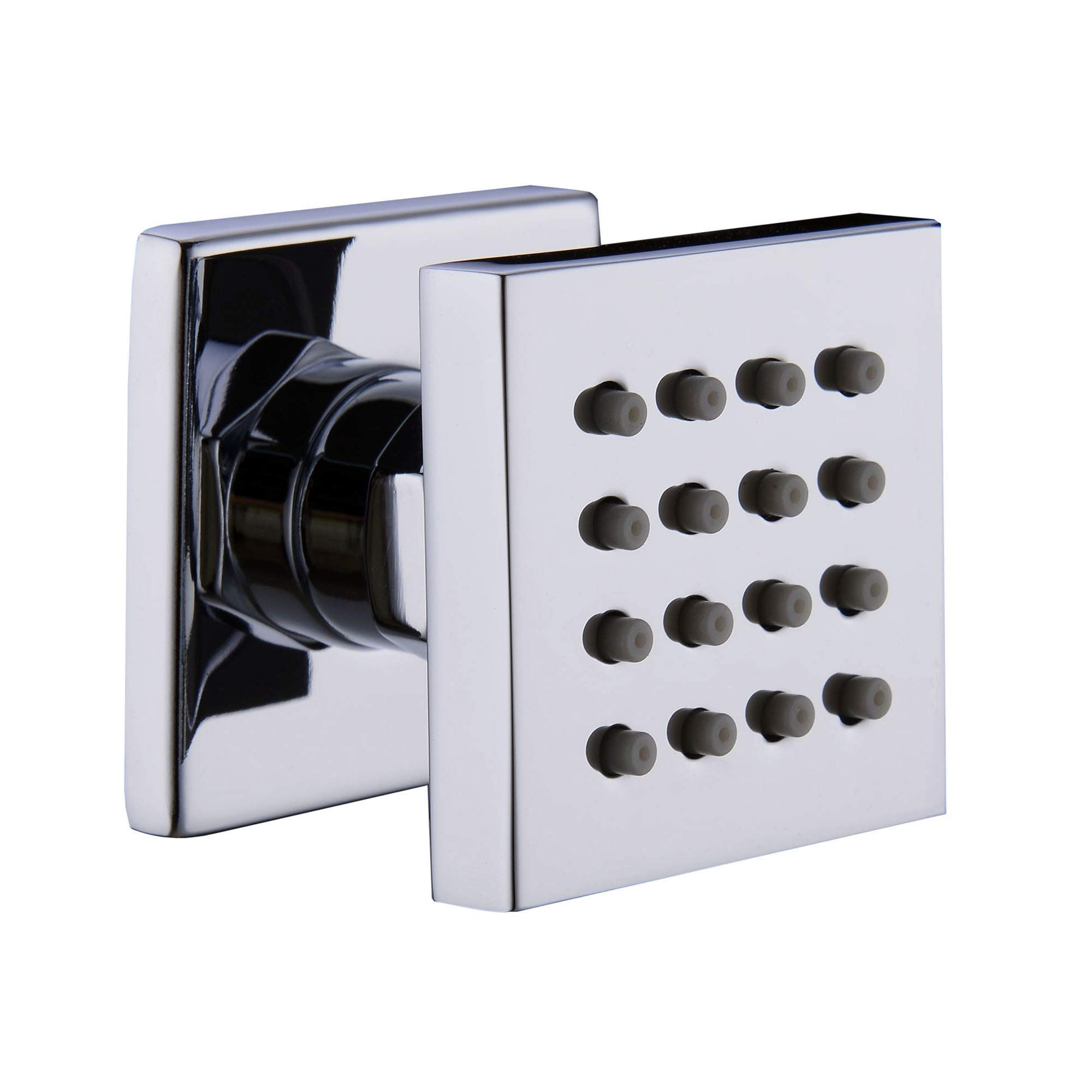 iOrange Square Solid Brass Shower Body Sprays Massage with Chrome Finish Spa Jets Sets Water Saving in Wall Bathroom Shower Accessories