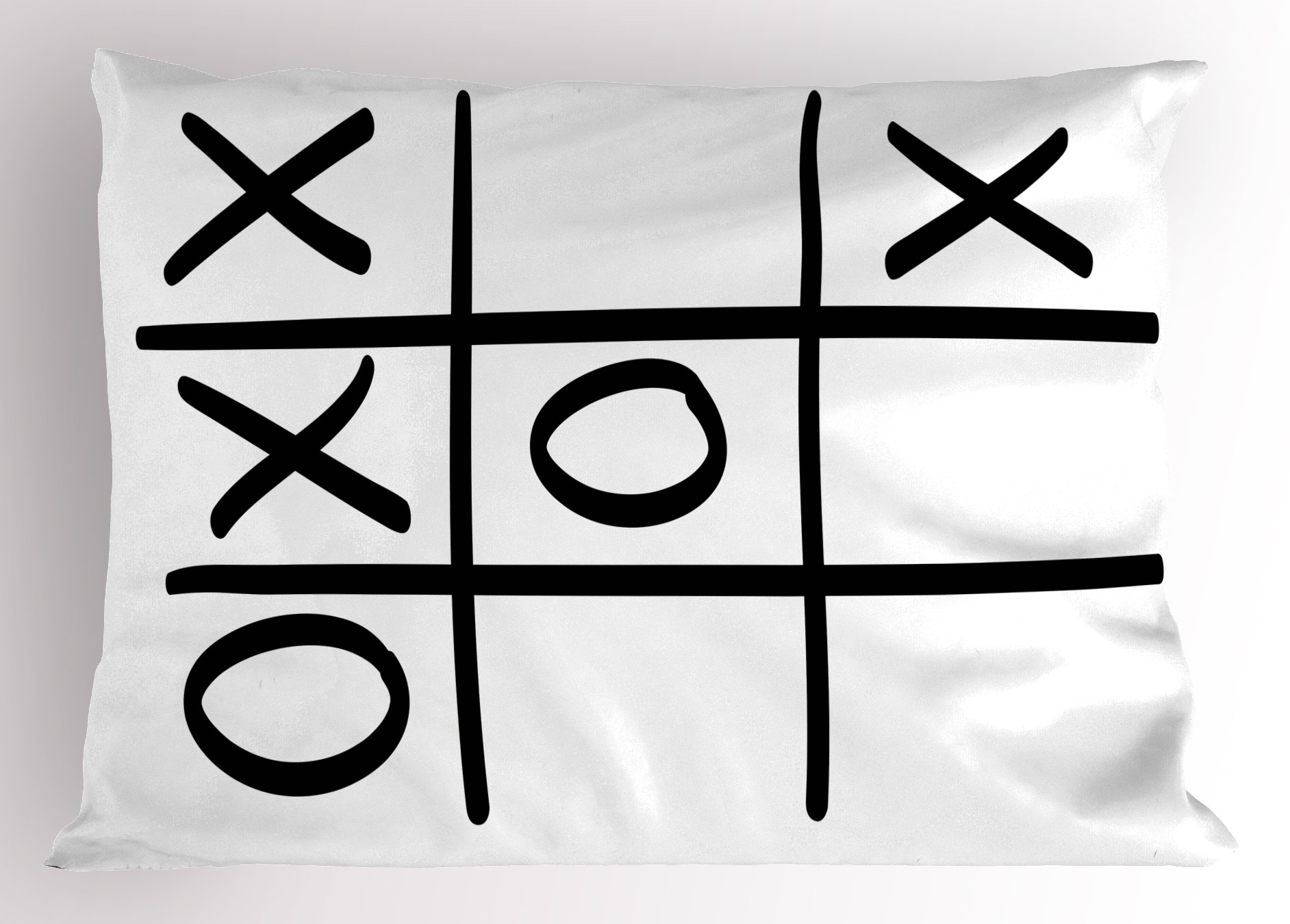 Ambesonne Xo Decor Pillow Sham, Tic Tac Toe Pattern Unfinished Game Hobby Theme Alphabet Minimalist Artful Image, Decorative Standard Queen Size Printed Pillowcase, 30 X 20 inches, Black White