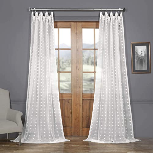 HPD Half Price Drapes SHCH-119-120 Patterned Faux Linen Sheer Curtain 1 Panel , 50 X 120, Strasbourg Dot