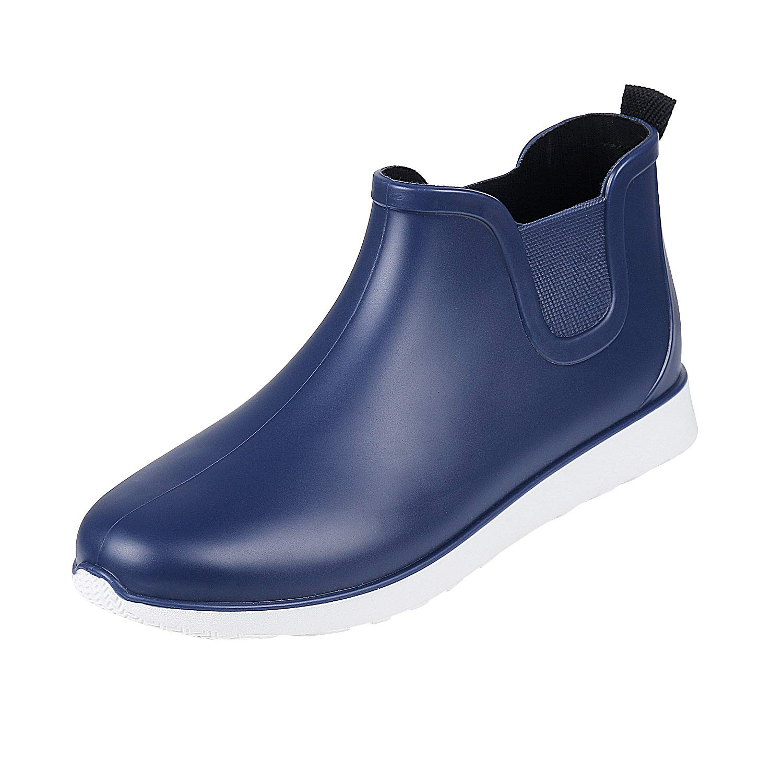 Comwarm Mens Waterproof Anti-Slip Rain Boots Casual Outdoor Sport Short Ankle Slip-on Rain Shoes (8, Blue)