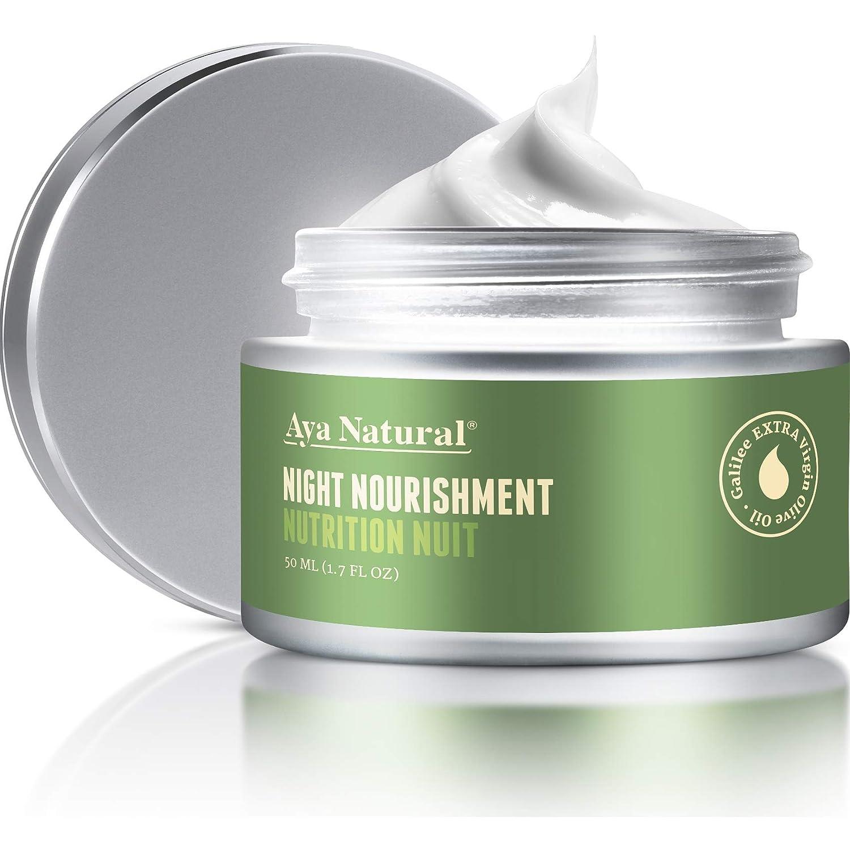 All Natural Night Cream Face Moisturizer – Vegan Anti Aging Night Time Anti Wrinkle Dark Spot Corrector for Dry Skin by Aya Natural