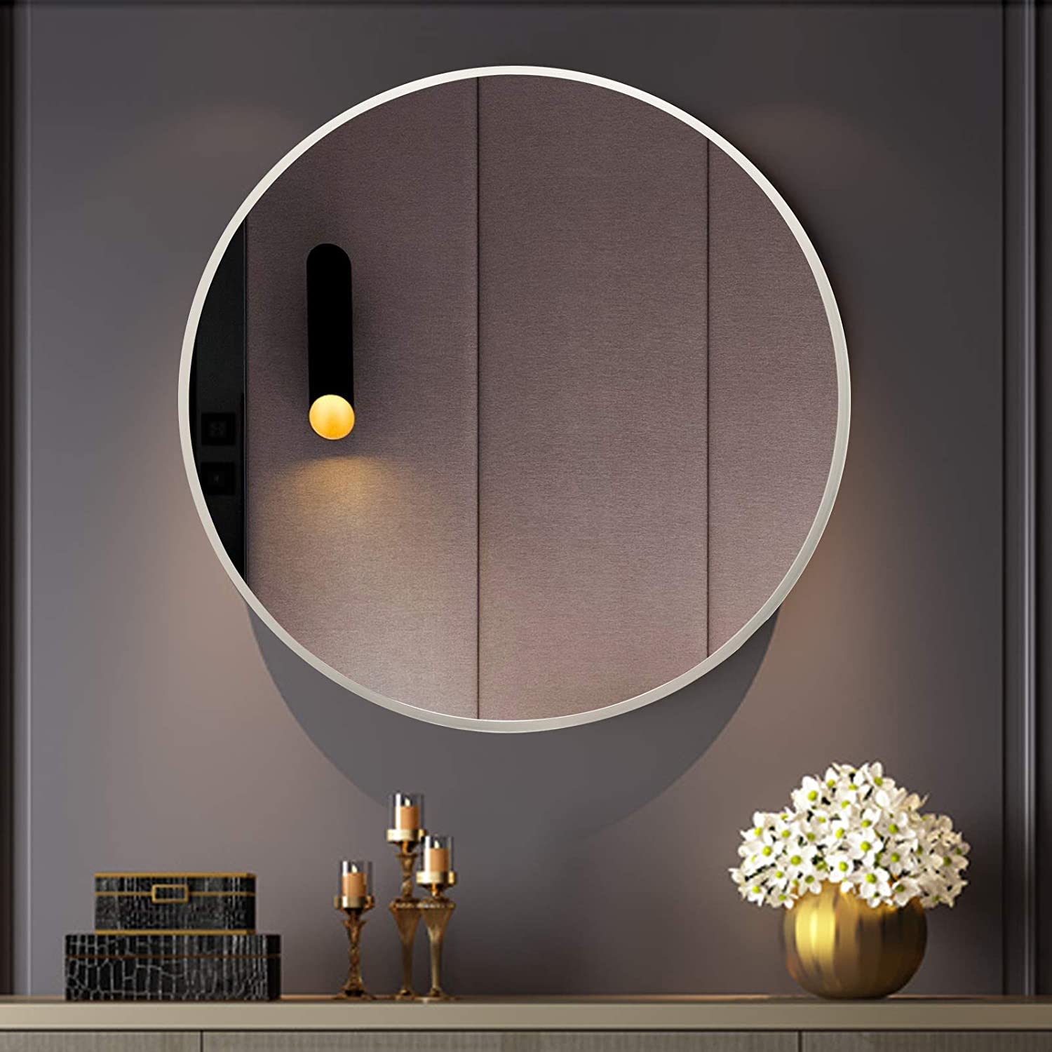 BEAUTYPEAK Round Wall Mirror 24-Inch Circle Wall Wall-Mounted Decor Mirrors with Metal Frame for Entryways, Vanity, Washrooms, Living Rooms, Bathroom, Hallway, Silver