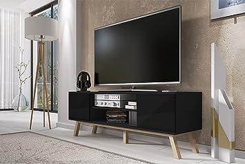 100% authentique c8248 6a502 Vero Bois - Meuble TV Moderne (150 cm, Corpus Noir Mat/Front Noir Brillant)