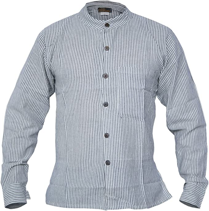 1920s Men's Fashion UK | Peaky Blinders Clothing Gheri Mens Button Down Striped Grandad Nepalese Shirts £17.99 AT vintagedancer.com