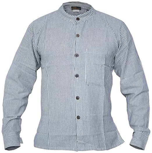 1920s Style Men's Shirts | Peaky Blinders Shirts and Collars Little Kathmandu Mens Button Down Striped Grandad Nepalese Shirts £15.99 AT vintagedancer.com