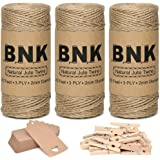 BNK 787 Feet Natural Jute Twine for Gift Wrapping String Kit with Kraft Paper Gift Tags, Wooden Clips, for Arts Crafts…