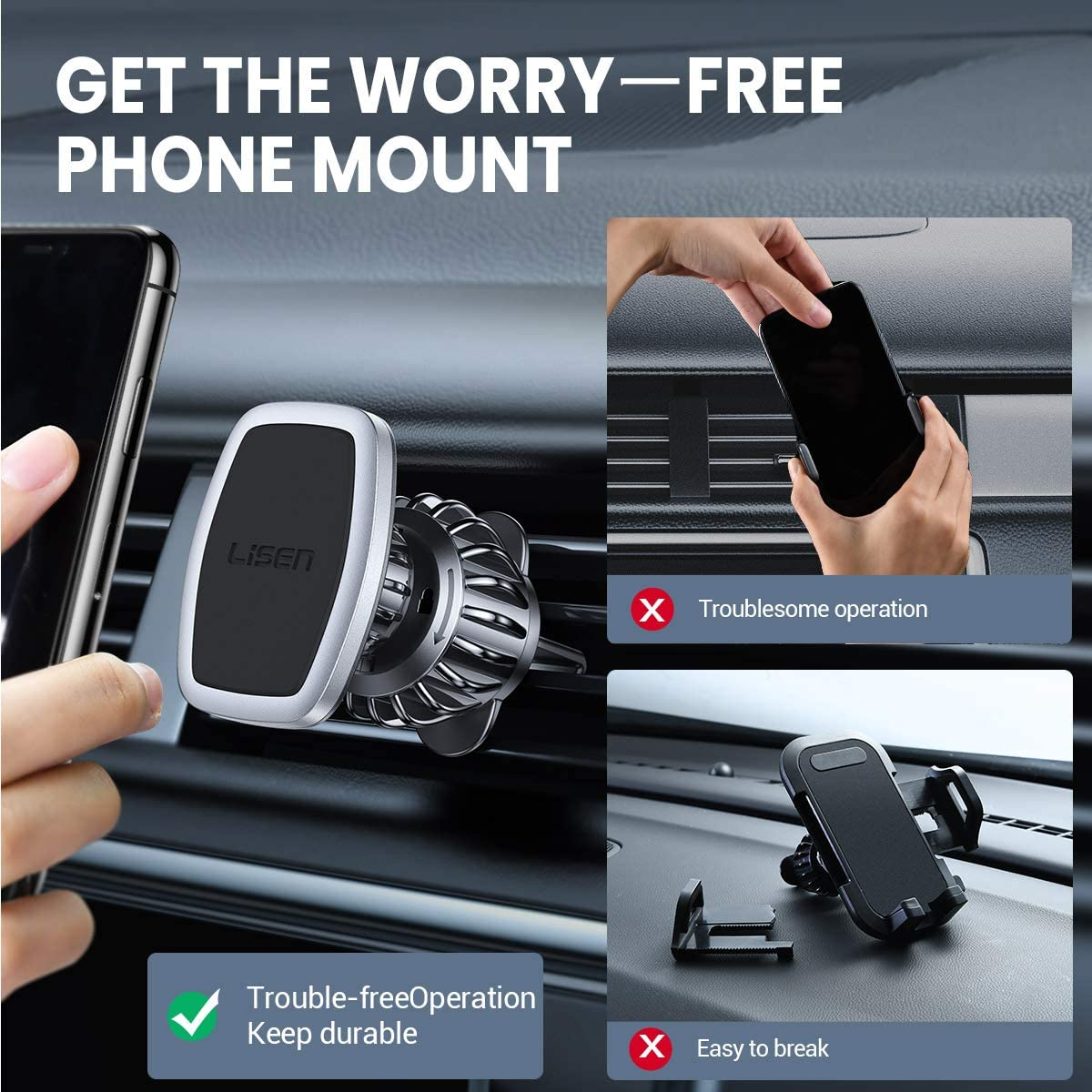 Upgraded Clip 6 Strong Magnets Magnetic Phone Mount Case Friendly Phone Car Holder Car Mount Compatible with All Smartphone and Tablet-Silver Car Phone Mount LISEN Phone Holder Car,