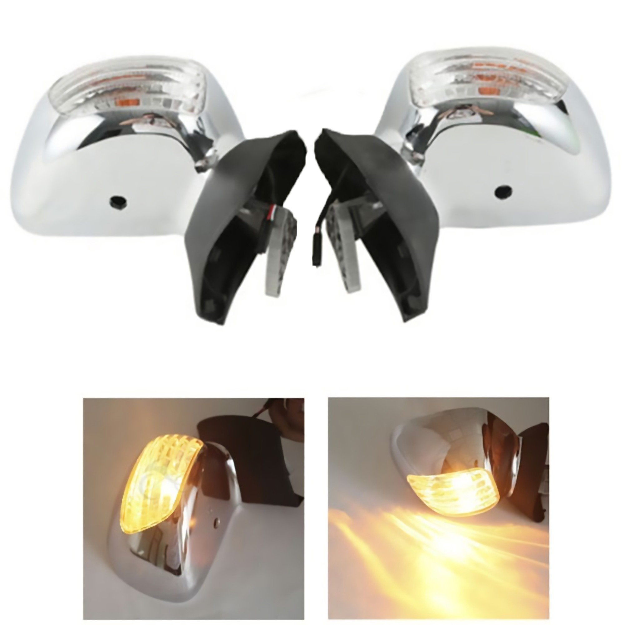 XMT-MOTO Chrome Rear View Mirror Clear Signal Lens For Honda Goldwing GL 1800 2001-2012