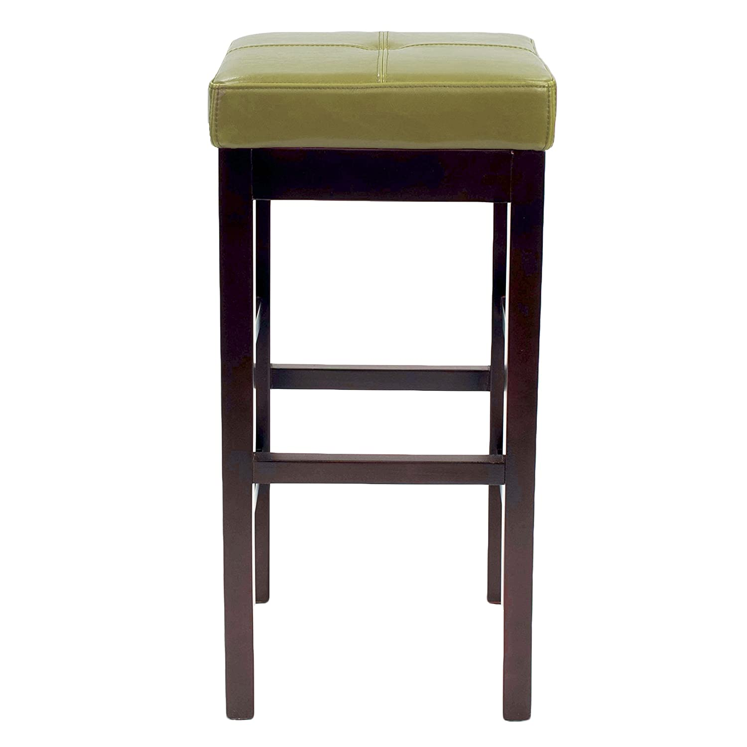 New Pacific Direct Valencia Backless Leather Counter Stool 27 ,Brown Legs,Wasabi