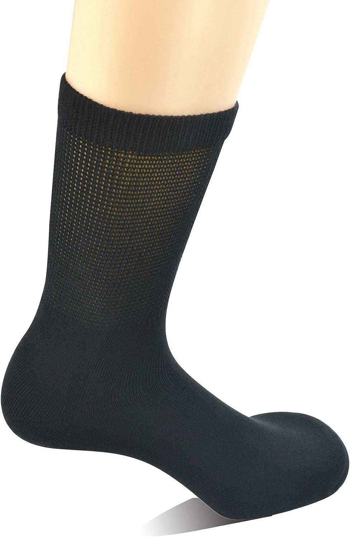 Yomandamor Men's 4 Pairs Cotton Seamless Diabetic Crew Socks with Non-binding Top