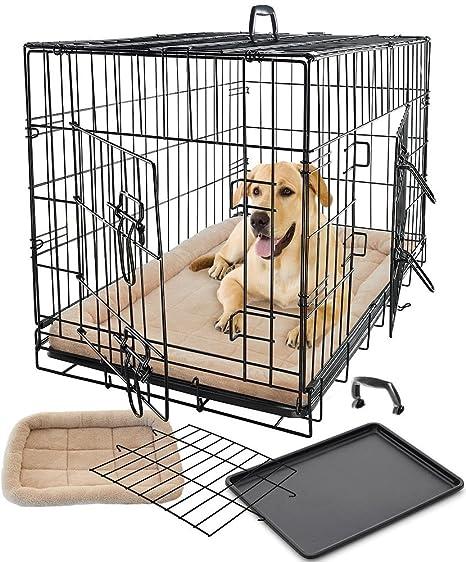 Amazon.com: Mascota Perro Gato Jaula Crate Jaula y cama ...