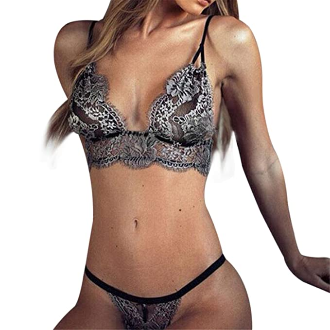 ed8743f28 Image Unavailable. Image not available for. Color  Robert Westbrook  Transparent Floral Lace Embroidery Push Up Bra G-String Set Sexy Women  Lingerie
