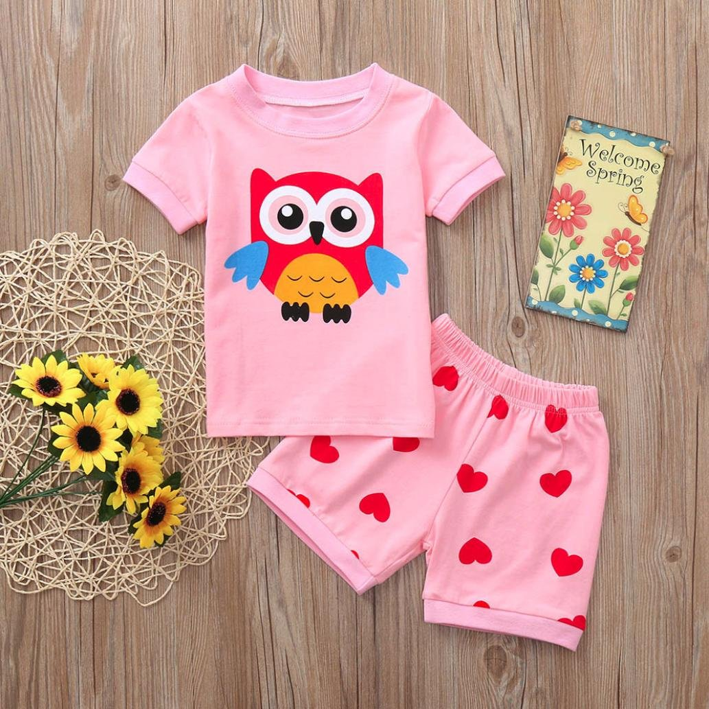 WARMSHOP Kids Girls Homewear Clothes Set Short Sleeve Cartoon Tops Blouse+Elastic Casual Shorts Pajamas Outfits Sets
