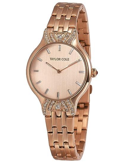 Taylor Cole TC094 - Reloj Mujer Cuarzo Japonés de Acero Inoxidable Oro Rosa