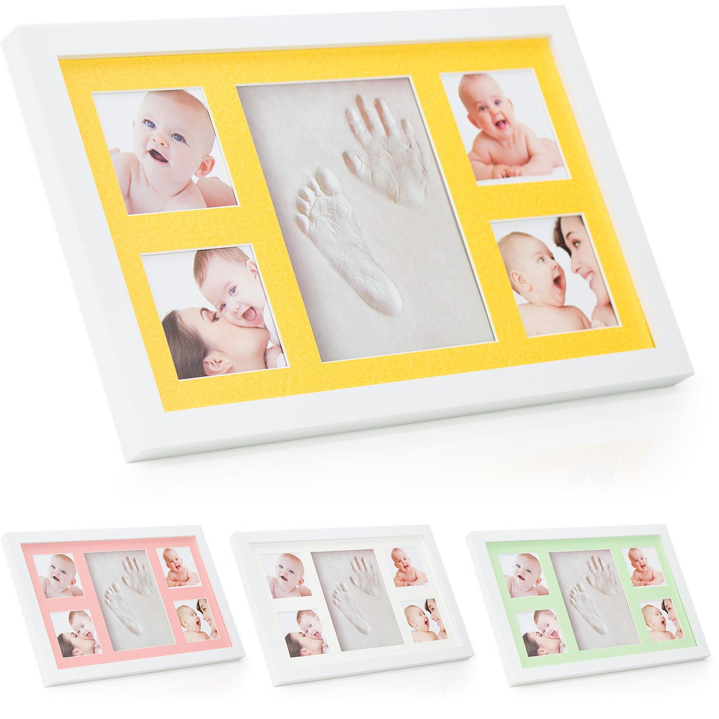 Baby Hand and Footprint Photo Frame Kit ® Babyboon | 4 COLOURS IN ONE PACK | Non-Toxic Air Dry Clay | The Perfect Keepsake for a Baby Shower or Christening Gift | Fantastic Impressions of Hands and Foot - TRY NOW ! Hand Print Frame Clay Kit 4