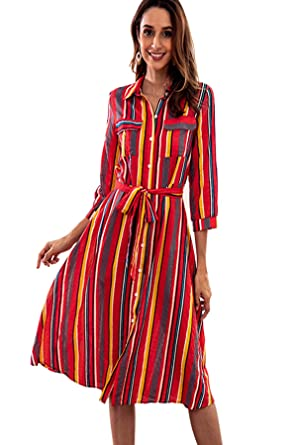 2fe831eef824 Colorful Striped Shirt Dresses for Women Button Up 3/4 Sleeve Work Casual  Midi Length