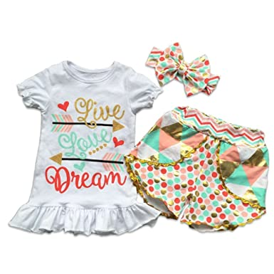 f27f94a95 Amazon.com: Kids Boutique Clothing Infant Baby Girl Toddler Girl Live Love  Dream Short Pant Outfit Boutique W/Headband Sale: Clothing