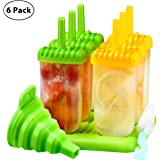 Ice Lolly Moulds, TOPELEK Popsicle Molds Set, 6 Ice Lolly Makers, FDA Certified BPA Free Ice Cream Moulds with Non-Spill Lid Cleaning Brush and Silicone Folding Funnel