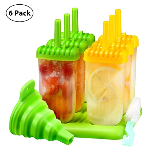 Ice Lolly Moulds, TOPELEK Popsicle Molds Set, 6 Ice Lolly Makers, LFGB Certified BPA Free Silicone Ice Cream Moulds with Non-Spill Lid Cleaning Brush and Folding Funnel