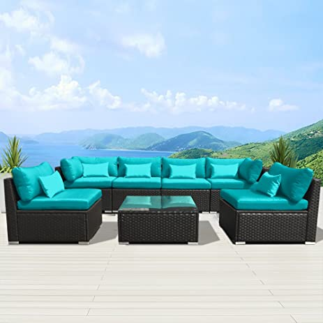 Beautiful Modenzi 7G U Outdoor Sectional Patio Furniture Espresso Brown Wicker Sofa  Set (Turquoise)
