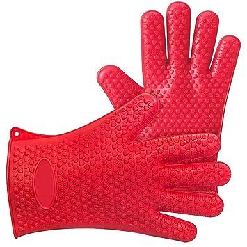 Kendan – Par de rojo silicona resistente al calor guantes para barbacoa barbacoa guantes de horno
